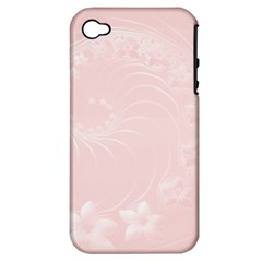 Light Pink Abstract Flowers Apple Iphone 4/4s Hardshell Case (pc+silicone)