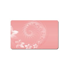 Pink Abstract Flowers Magnet (name Card)