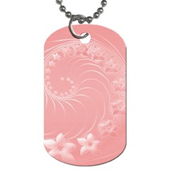 Pink Abstract Flowers Dog Tag (one Sided)