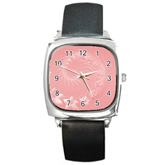 Pink Abstract Flowers Square Leather Watch