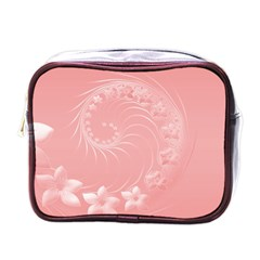 Pink Abstract Flowers Mini Travel Toiletry Bag (one Side)