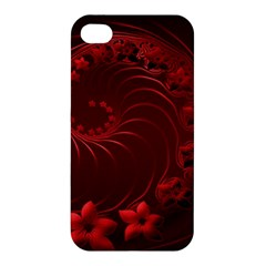 Dark Red Abstract Flowers Apple Iphone 4/4s Hardshell Case by BestCustomGiftsForYou