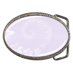 Pastel Violet Abstract Flowers Belt Buckle (oval) by BestCustomGiftsForYou