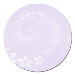 Pastel Violet Abstract Flowers Magnet 5  (round) by BestCustomGiftsForYou