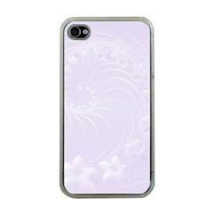 Pastel Violet Abstract Flowers Apple Iphone 4 Case (clear) by BestCustomGiftsForYou