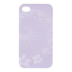 Pastel Violet Abstract Flowers Apple Iphone 4/4s Hardshell Case by BestCustomGiftsForYou