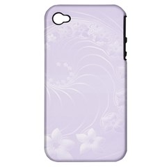 Pastel Violet Abstract Flowers Apple Iphone 4/4s Hardshell Case (pc+silicone) by BestCustomGiftsForYou