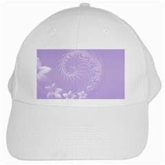 Light Violet Abstract Flowers White Baseball Cap by BestCustomGiftsForYou