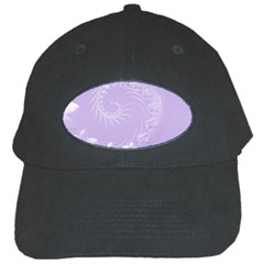 Light Violet Abstract Flowers Black Baseball Cap by BestCustomGiftsForYou