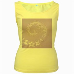 Light Violet Abstract Flowers Womens  Tank Top (yellow) by BestCustomGiftsForYou