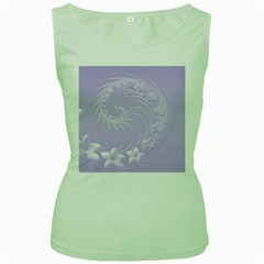 Light Violet Abstract Flowers Womens  Tank Top (green) by BestCustomGiftsForYou