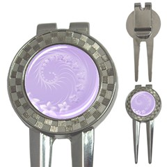 Light Violet Abstract Flowers Golf Pitchfork & Ball Marker by BestCustomGiftsForYou