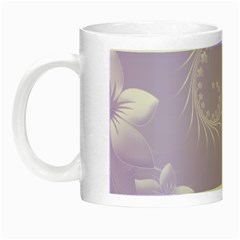 Light Violet Abstract Flowers Glow In The Dark Mug by BestCustomGiftsForYou