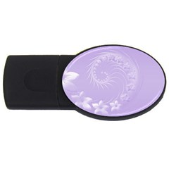 Light Violet Abstract Flowers 4gb Usb Flash Drive (oval) by BestCustomGiftsForYou