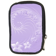 Light Violet Abstract Flowers Compact Camera Leather Case by BestCustomGiftsForYou