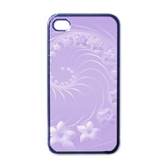 Light Violet Abstract Flowers Apple Iphone 4 Case (black) by BestCustomGiftsForYou