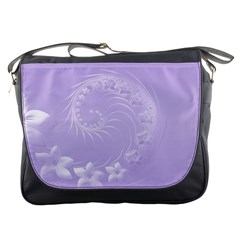 Light Violet Abstract Flowers Messenger Bag by BestCustomGiftsForYou