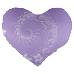 Light Violet Abstract Flowers 19  Premium Heart Shape Cushion by BestCustomGiftsForYou