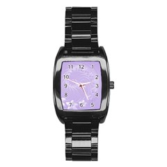 Light Violet Abstract Flowers Men s Stainless Steel Barrel Analog Watch by BestCustomGiftsForYou