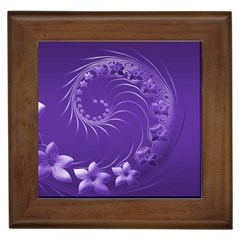 Violet Abstract Flowers Framed Ceramic Tile by BestCustomGiftsForYou