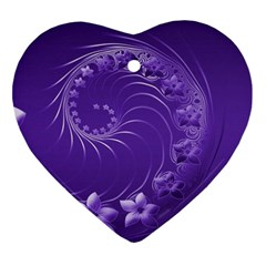 Violet Abstract Flowers Heart Ornament by BestCustomGiftsForYou