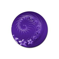 Violet Abstract Flowers Drink Coaster (round)