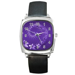 Violet Abstract Flowers Square Leather Watch