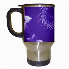 Violet Abstract Flowers Travel Mug (white) by BestCustomGiftsForYou