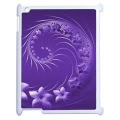 Violet Abstract Flowers Apple Ipad 2 Case (white) by BestCustomGiftsForYou