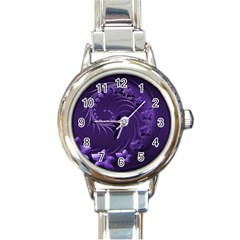 Dark Violet Abstract Flowers Round Italian Charm Watch by BestCustomGiftsForYou