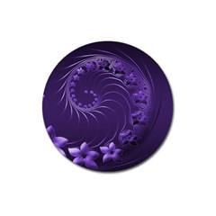 Dark Violet Abstract Flowers Magnet 3  (round) by BestCustomGiftsForYou