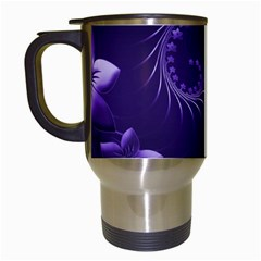 Dark Violet Abstract Flowers Travel Mug (white) by BestCustomGiftsForYou