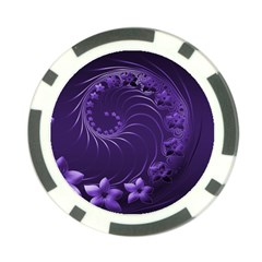 Dark Violet Abstract Flowers Poker Chip