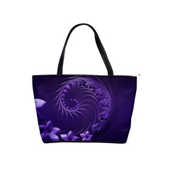 Dark Violet Abstract Flowers Large Shoulder Bag by BestCustomGiftsForYou