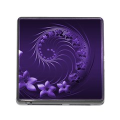 Dark Violet Abstract Flowers Memory Card Reader With Storage (square) by BestCustomGiftsForYou