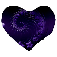 Dark Violet Abstract Flowers 19  Premium Heart Shape Cushion by BestCustomGiftsForYou