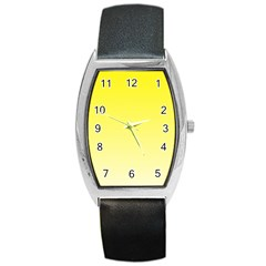 Cadmium Yellow To Cream Gradient Tonneau Leather Watch by BestCustomGiftsForYou