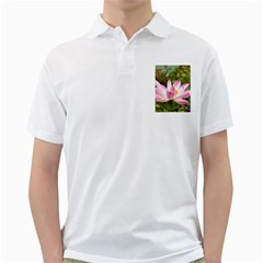 A Pink Lotus Mens  Polo Shirt (white) by natureinmalaysia