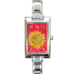A Red Flower Rectangular Italian Charm Watch