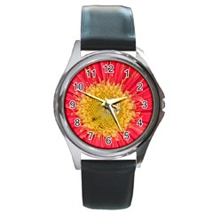 A Red Flower Round Metal Watch (silver Rim)