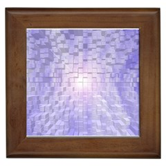 Purple Cubic Typography Framed Ceramic Tile by TheZiNES