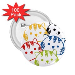 Kawaii Cat Faces 2 25  Button (100 Pack)