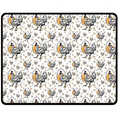 Chickens And Eggs Fleece Blanket (medium) by heathergreen