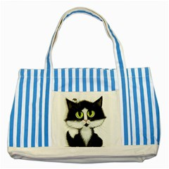 Curiouskitties414 Blue Striped Tote Bag