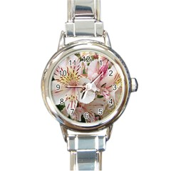 Flower Alstromeria Round Italian Charm Watch by ADIStyle