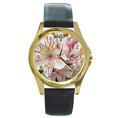 Flower Alstromeria Round Metal Watch (gold Rim)  by ADIStyle