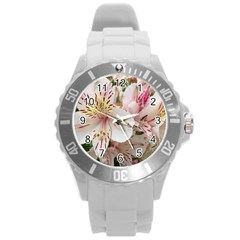 Flower Alstromeria Plastic Sport Watch (large) by ADIStyle