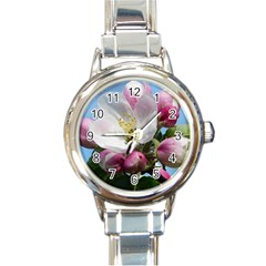 Apple Blossom  Round Italian Charm Watch by ADIStyle