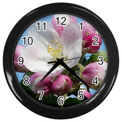 Apple Blossom  Wall Clock (black) by ADIStyle