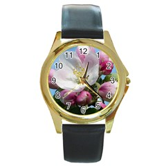 Apple Blossom  Round Metal Watch (gold Rim)  by ADIStyle
